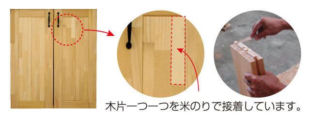 キャビネットの扉(米のり集成材)
